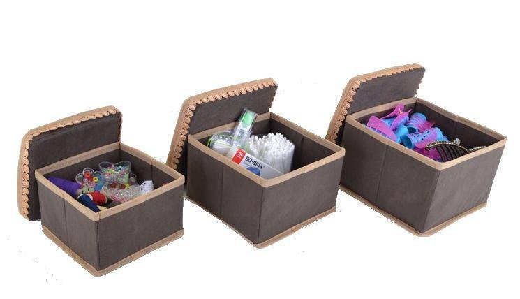 """Набор коробок для хранения мелочей """"Кружево"""" 3 шт. коричн., Design Line 31-BR, фото 2"""