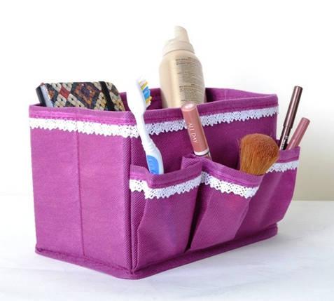 """Корзинка с кармашками для хранения мелочей """"Кружево"""" роз., Design Line 01-VL, фото 2"""