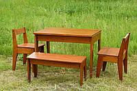 Набор деревянной кухонной мебели ( стол, лавка, два стула )