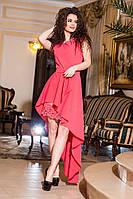 Красивое коралловое  женское платье с перфорацией. Арт-2165/57