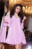 Стильное  розовое женское платье свободного фасона. Арт-2166/57