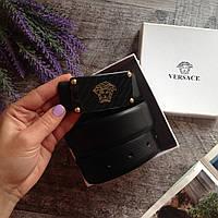 Черный кожаный ремень VERSACE бренд пояс кожаный