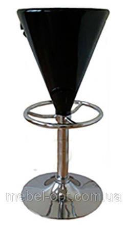 Барный стул-табурет хромированный Коно сиденье черный глянцевый пластик