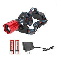 Налобный  фонарь аккумуляторный мощный с лазером (фокусировка)