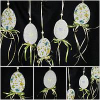 "Декор изо льна ""Яйцо цветы прованса"" 10см, 50 см подвес (ручная работа), 50/45 (цена за 1 шт. + 5 гр.)"
