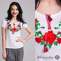 Вишита футболка Троянди на білому 4XL