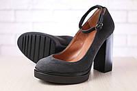 Туфли женские, из натуральной замши, серые, с чокером сверху, на толстом устойчивом каблуке, 36-40 р-р