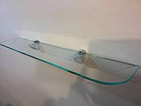 Полка стеклянная прямая 6 мм прозрачная 60 х 12 см, фото 1