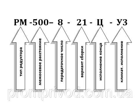 Условное обозначение редуктора РМ-500-8