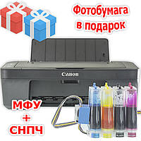 Домашняя студия: МФУ CANON E414 + СНПЧ Черный печать фото текста сканирование копир подарки чернило фотобумага