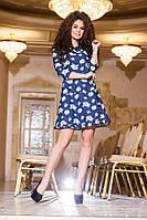 Стильное синее  короткое платье, цветочный принт, рукав 3/4. Арт-2169/57