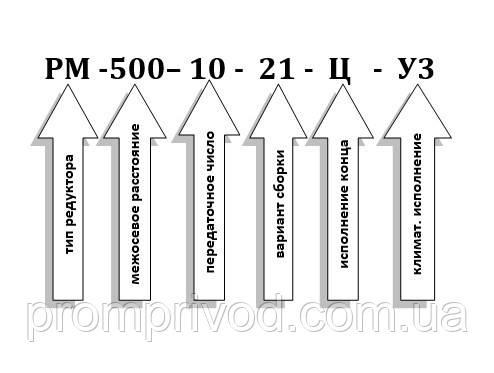 Условное обозначение редуктора РМ-500-10