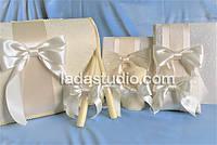 Свадебные аксессуары ручной работы в цвете айвори, с гипюром