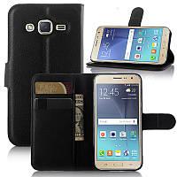 Чехол для Samsung Galaxy J3 2016 J320 J320H J300 книжка кожа PU черный
