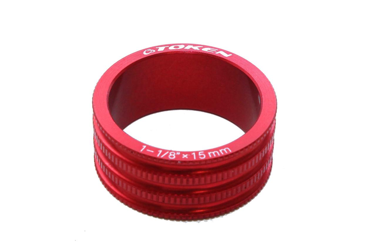 Проставочное кільце для рульової Token, червоне, 15 мм