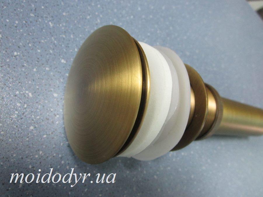 Донный клапан (слив) c переливом античная латунь