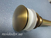 Пробка - сифон (донный клапан, слив) с переливом (латунь), фото 1