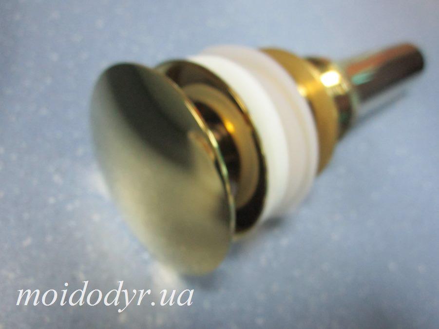 Пробка - сифон Click Clack c переливом (золото), донный клапан, слив