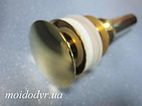 Пробка - сифон Click Clack c переливом (золото), донный клапан, слив, фото 1
