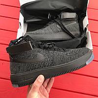 Кроссовки Nike Air Force High Flyknit Mid - Dark grey. Живое фото. Топ качество! (аир форс, эир форсы)
