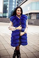 Жилет из меха финского песца, цвет синий, комбинированный крой, фото 1