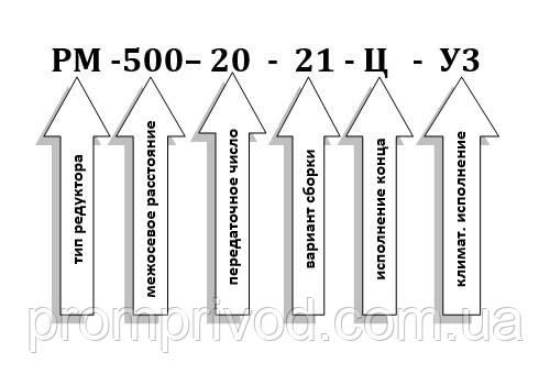 Условное обозначение редуктора РМ-500-20