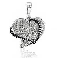 Серебряная подвеска кулон Сердце в Фианитах 925 пробы