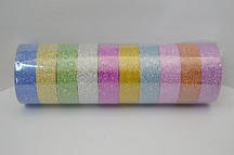 Скотч, лента (стрічка) самоклеющаяся декоративная цветная, блестящая набор 10 шт.№999-2