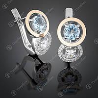 Серебряные серьги с топазом и цирконами. Артикул С-394