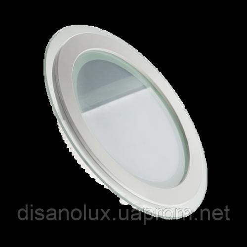 Светодиодный  светильник  LED 12W  4500К (КРУГ + СТЕКЛО)