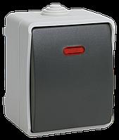 Выключатель одноклавишный со свет. индикатором для открытой установки IP54 ВС20-1-1-ФСр IEK (EVS11-)