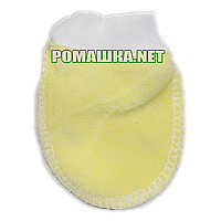 Велюровые варежки (царапки, рукавички, антицарапки) р. 56 для новорожденного 100 % хлопок 3489 Желтый