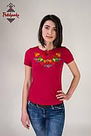 Жіноча вишиванка Петриківська на бордовому, фото 1