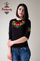 Жіноча вишиванка Петриківська на чорному, фото 1