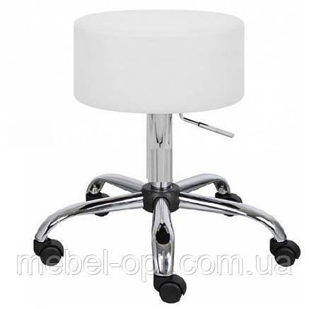Стул мастера без спинки на колесиках, белый Пина, мебель для салонов красоты, фото 2