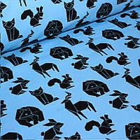 Джерси черные геометрический животных  на голубом №0043