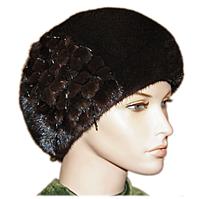Женская меховая норковая шапка берет