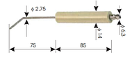 Электрод для горелок. Диаметр 14мм, длина керамики 68мм, проводник 80мм