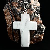 Кахолонг, серебро, крестик, 351КЛА
