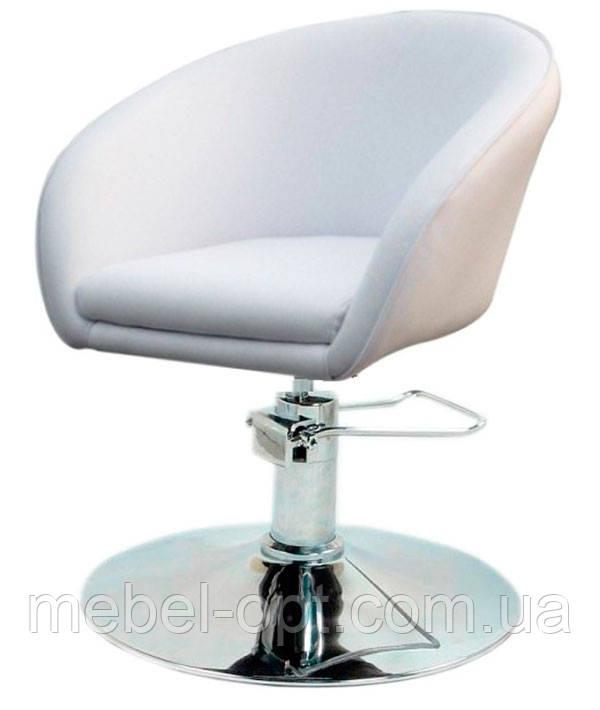 Парикмахерское дизайнерское кресло Мурат Р белая экокожа поворотное с гидроподъемником
