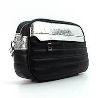 Черная сумочка Valensiy серебристые вставки, фото 1