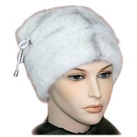 Женская норковая шапка натуральный мех белая