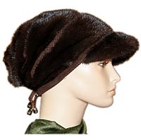 Женская норковая шапка с козырьком коричневая