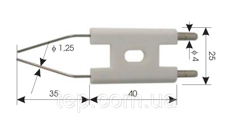 Електрод запалювання для дизельних пальників 40x25x35