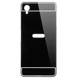 Чехол бампер для Sony Xperia X F5122 металлический со съемной зеркальной крышкой, черный
