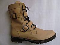 Ботинки бежевые мужские кожаные, Берцы с пряжками
