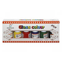 Краски для стекла, 6 цветов по 25мл + нейлоновая кисточка,в кор.10*24*4см