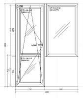 Балконный блок металлопластиковый 1500х2000