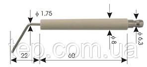 Електрод іонізації/запалювання для газових пальників. Діаметр 8мм, довжина кераміки 60мм, провідник 22мм
