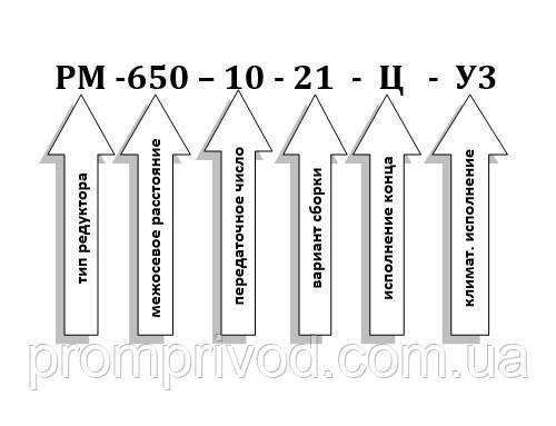 Условное обозначение редуктора РМ-650-10